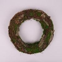 Вінок декоративний з кори і моху 30 см. 44224