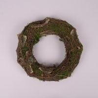 Вінок декоративний з кори і моху 26 см. 44225