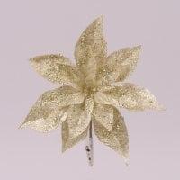 Цветок новогодний Пуансетия золотой 75697