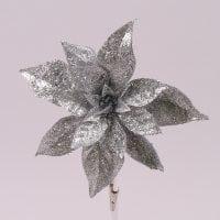 Цветок новогодний Пуансетия серебряный 75699