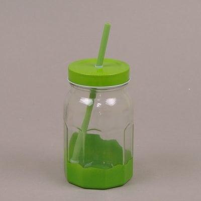 Фото Банка стеклянная с трубкой зеленая 0,5 л. 30522