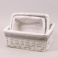 Комплект кошиків з тканиною 3 шт. білий 37446