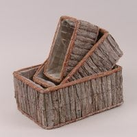 Комплект прямокутних дерев'яних кашпо 3 шт. 5498