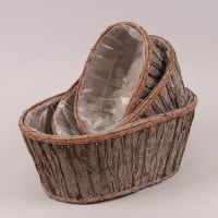 Комплект овальних дерев'яних кашпо 3 шт. 5499