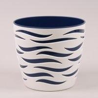Горшок пластмассовый Sahara Duo белый+синий 14см.