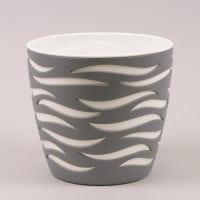Горшок пластмассовый Sahara Duo бетон+белый 14см.