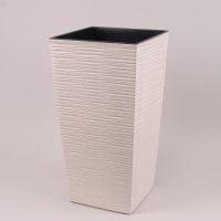 Горшок пластмассовый Финезия ECO с вкладом долото белый 19х19см.