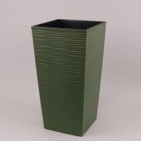 Горшок пластмассовый Финезия ECO с вкладом долото зеленый лесной 19х19см.