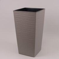 Горщик пластмасовий Фінезія ECO з вкладом долото сірий 19х19см.
