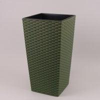 Горшок пластмассовый Финезия ECO с вкладом раттан зеленый лесной 19х19см.