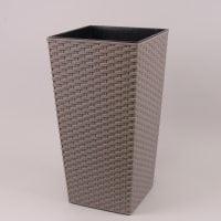 Горшок пластмассовый Финезия ECO с вкладом раттан серый 19х19см.