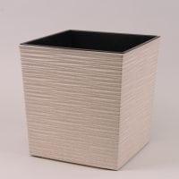 Горшок пластмассовый Юка ECO с вкладом долото белый 19х19см.