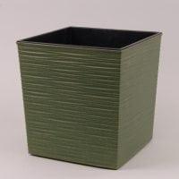 Горшок пластмассовый Юка ECO с вкладом долото зеленый лесной 19х19см.