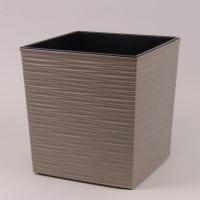 Горшок пластмассовый Юка ECO с вкладом долото серый 19х19см.