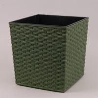 Горшок пластмассовый Юка ECO с вкладом раттан зеленый лесной 19х19см.