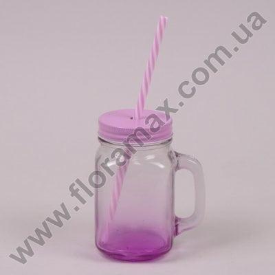 Фото Чашка-банка з трубочкою рожева 0,45 л. 30545