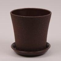 Горшок керамический Вуаль шелк коричневый 1л.