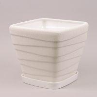 Горшок керамический Квадрат Волна шелк белый 4.5л.