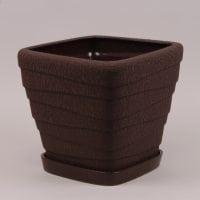 Горшок керамический Квадрат Волна шелк коричневый 4.5л.