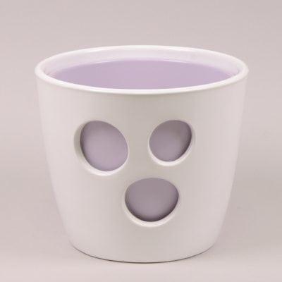 Горшок керамический Виктория белый+лавандовый 2,2л.