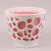 Горшок керамический Дуэт Бионика белый+кораловый 3л.