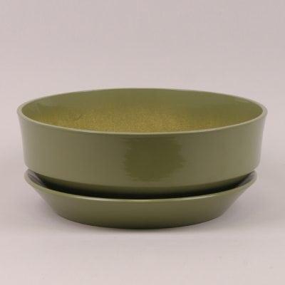 Горшок керамический Плошка глазурь оливковый 7.3л.