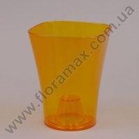 Горшок пластмассовый для орхидей Орхидея оранжевый 13х13см.