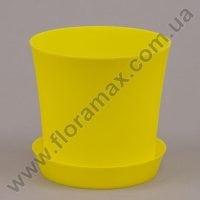 Горшок пластмассовый Фиолек с подставкой желтый 16см.