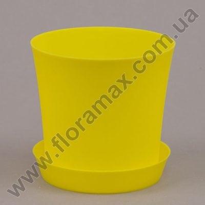 Фото Горщик пластмасовий Фіолек з підставкою жовтий 12.5см.