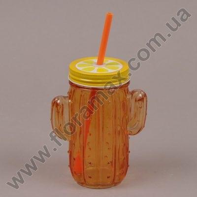 Фото Чашка-банка Кактус з трубочкою оранжева 0,4 л. 35028