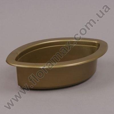 Фото Кашпо пластмасове для композицый Човник Ант золоте 22см.