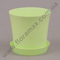 Горшок пластмассовый Фиолек с подставкой зеленый пастельный 11см.