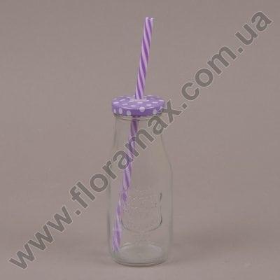 Фото Пляшка скляна з трубочкою фіолетова 0,3 л. 35059