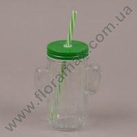 Чашка-банка Кактус з трубочкою зелена 0,4 л. 35030