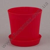 Горшок пластмассовый Фиолек с подставкой красный 14см.