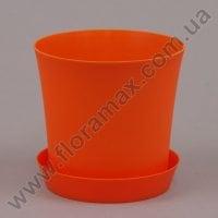 Горшок пластмассовый Фиолек с подставкой оранжевый 14см.