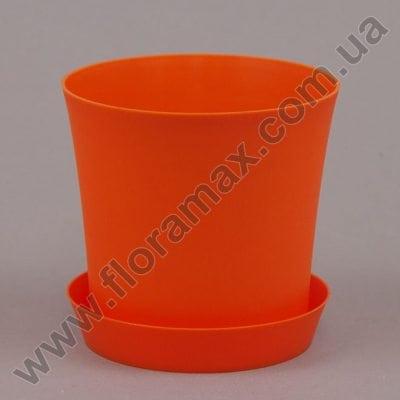 Фото Горшок пластмассовый Фиолек с подставкой оранжевый 11см.