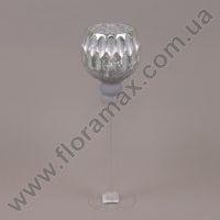 Подсвечник стеклянный серебряный 30057