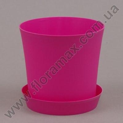 Фото Горшок пластмассовый Фиолек с подставкой розовый 11см.