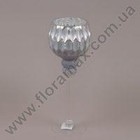 Подсвечник стеклянный серебряный 30058